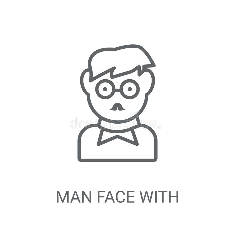 Man face with glasses and goatee icon. Trendy Man face with glas. Ses and goatee logo concept on white background from People collection. Suitable for use on web vector illustration