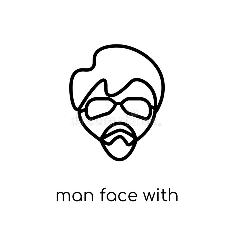 Man face with glasses and goatee icon. Trendy modern flat linear. Vector man face with glasses and goatee icon on white background from thin line People royalty free illustration