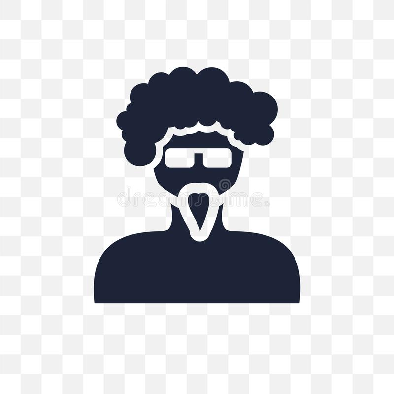 Man face with glasses and goatee transparent icon. Man face with. Glasses and goatee symbol design from People collection. Simple element vector illustration on royalty free illustration