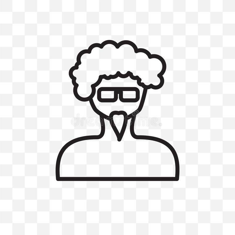 Man face with glasses and goatee vector linear icon isolated on transparent background, Man face with glasses and goatee transpare. Ncy concept can be used for vector illustration