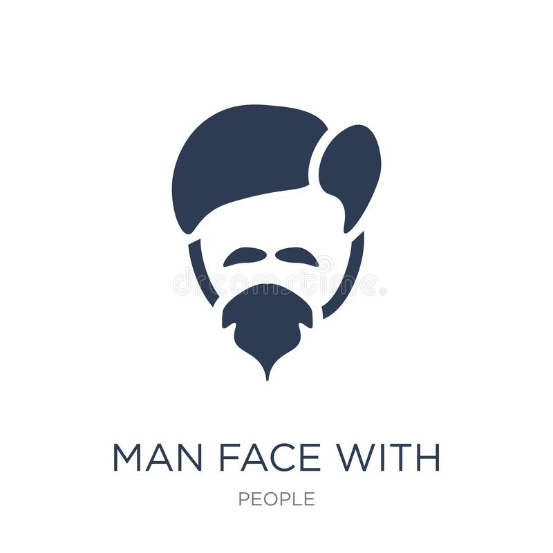 Man face with goatee icon. Trendy flat vector Man face with goat. Ee icon on white background from People collection, vector illustration can be use for web and stock illustration