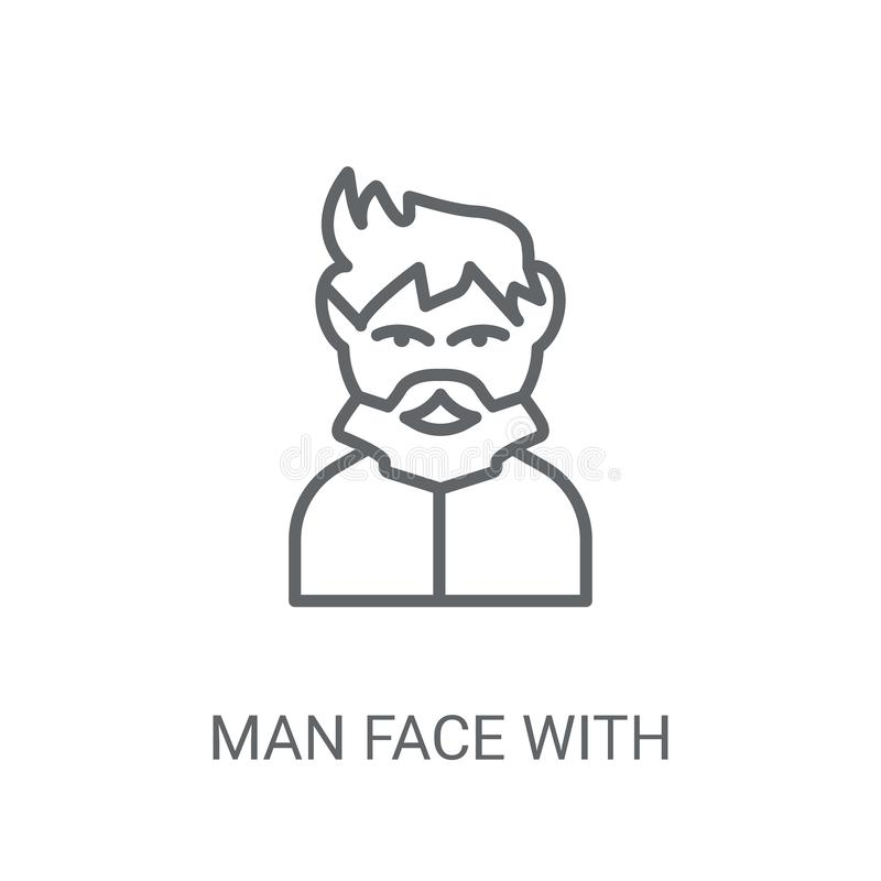 Man face with goatee icon. Trendy Man face with goatee logo conc. Ept on white background from People collection. Suitable for use on web apps, mobile apps and royalty free illustration