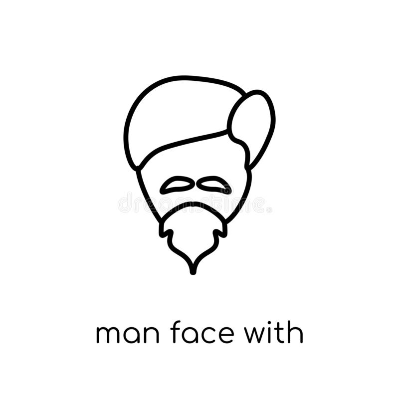 Man face with goatee icon. Trendy modern flat linear vector Man. Face with goatee icon on white background from thin line People collection, editable outline vector illustration