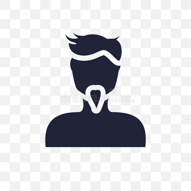 Man face with goatee transparent icon. Man face with goatee symbol design from People collection. Simple element vector illustration on transparent background royalty free illustration