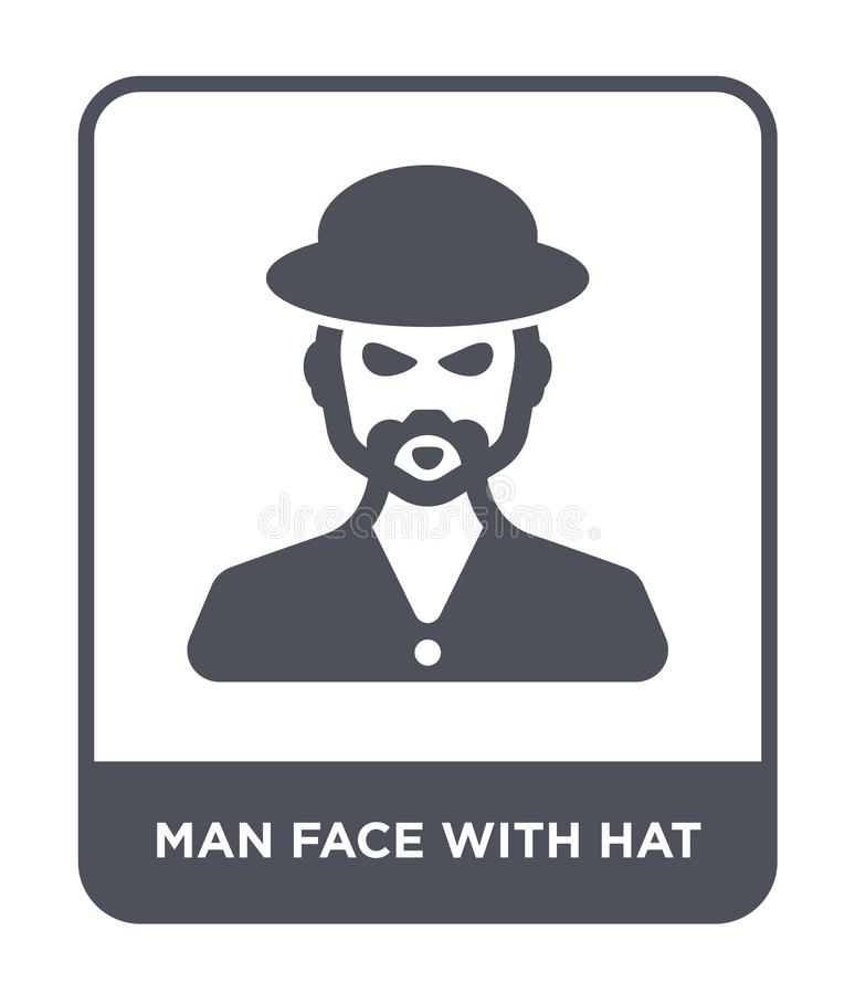 Man face with hat icon in trendy design style. man face with hat icon isolated on white background. man face with hat vector icon. Simple and modern flat symbol vector illustration