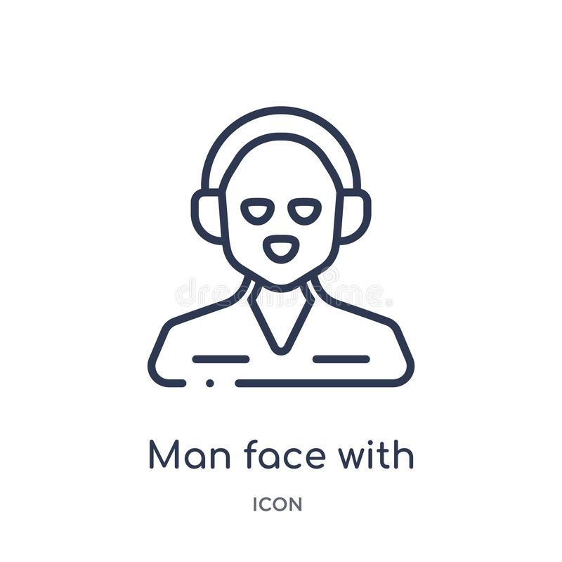 Man face with headphones icon from people outline collection. Thin line man face with headphones icon isolated on white background vector illustration