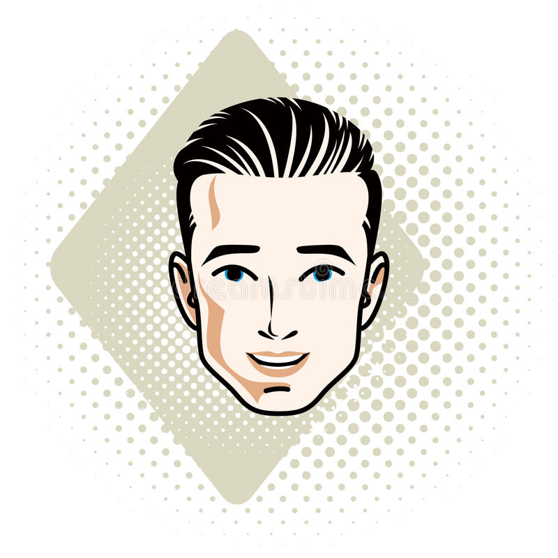 Man face, human head. Vector character, handsome brunet male wit. H stylish haircut royalty free illustration