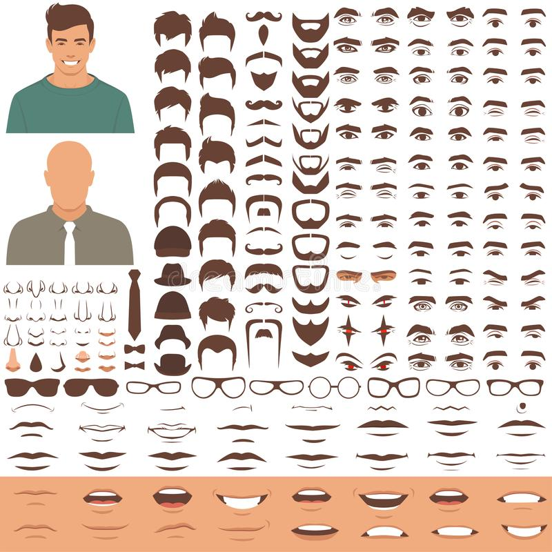 Man face parts, character head, eyes, mouth, lips, hair and eyebrow icon set. Vector illustration of man face parts, character head, eyes, mouth, lips, hair and