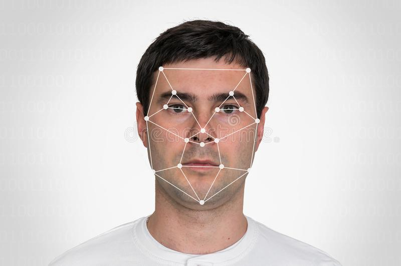Man face recognition - biometric verification. Concept royalty free stock photography