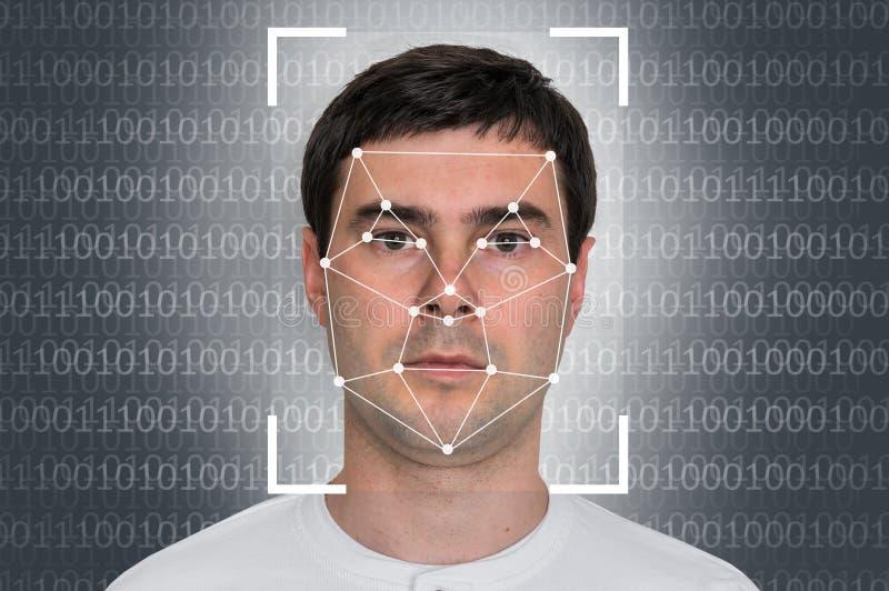 Man face recognition - biometric verification stock photos