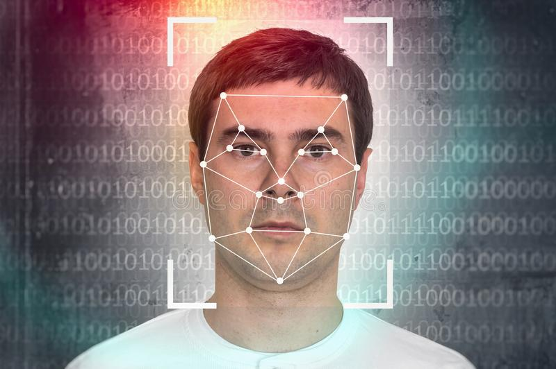 Man face recognition - biometric verification stock photo