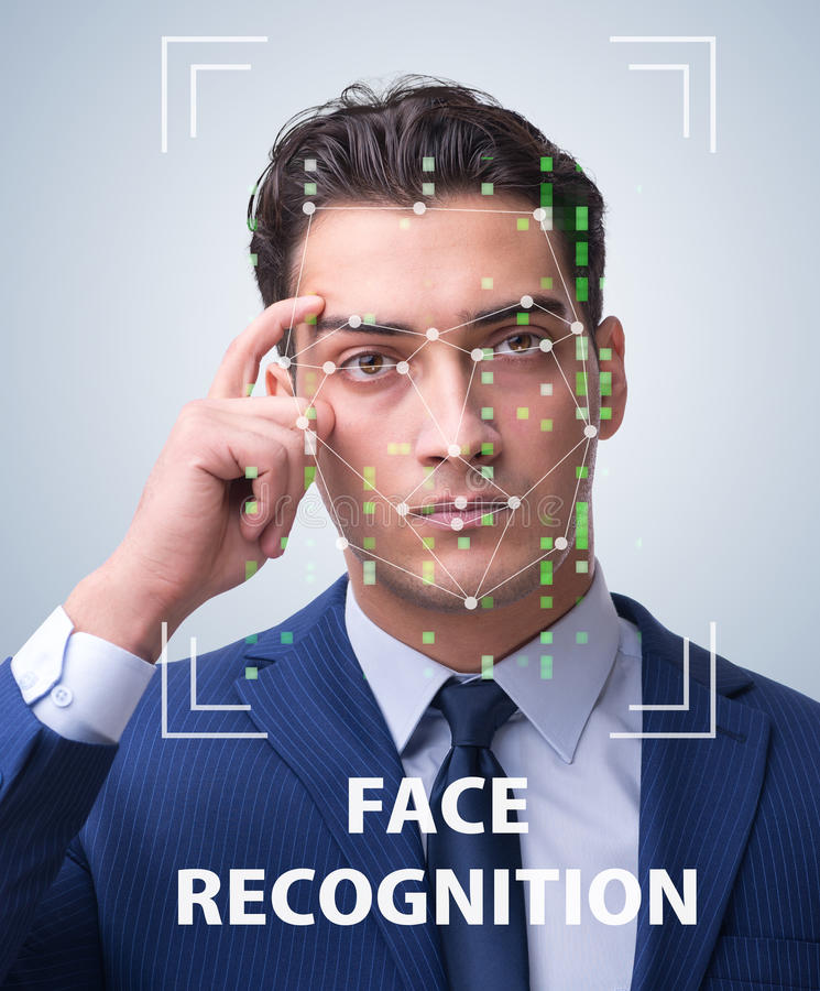 The man in face recognition concept stock images