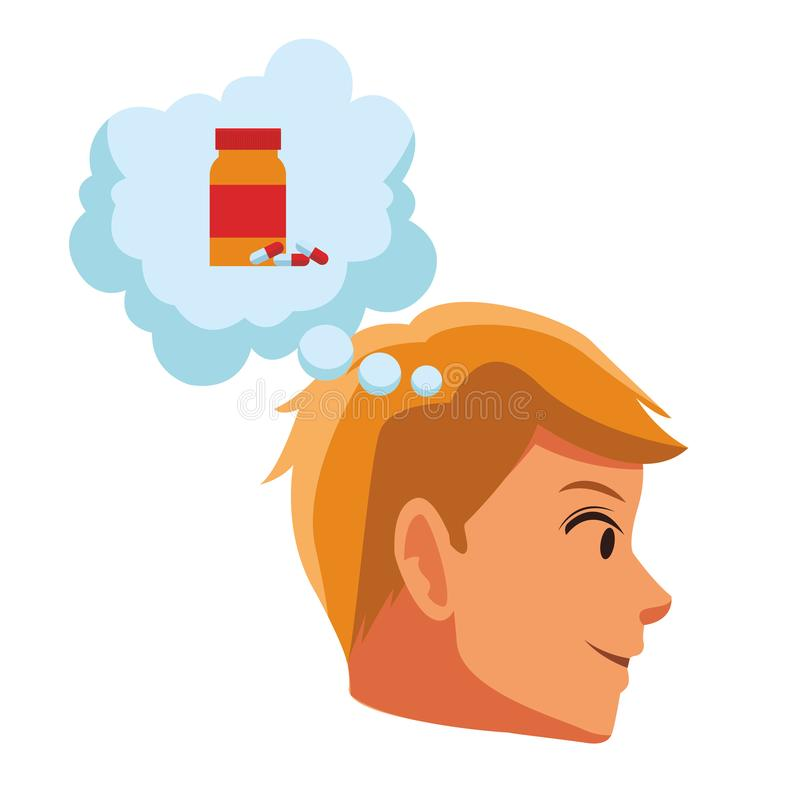 Man face sideview. Thinking in vitamins cartoon vector illustration graphic design stock illustration