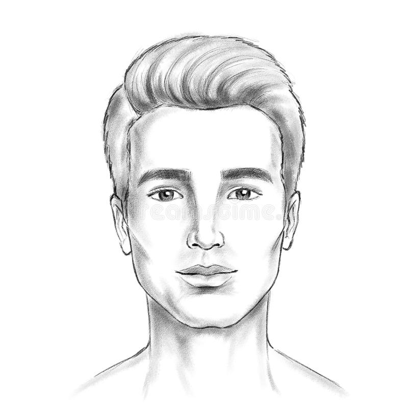 Man face sketch artwork digital painting look likes pencil. On white background stock illustration