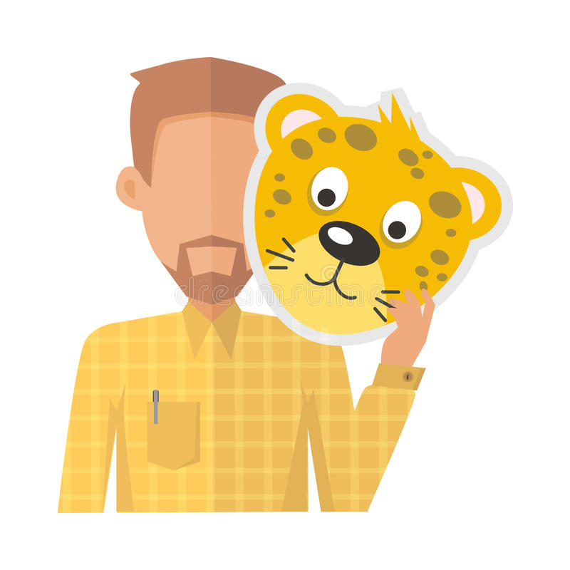 Man Without Face with Tiger Mask vector illustration