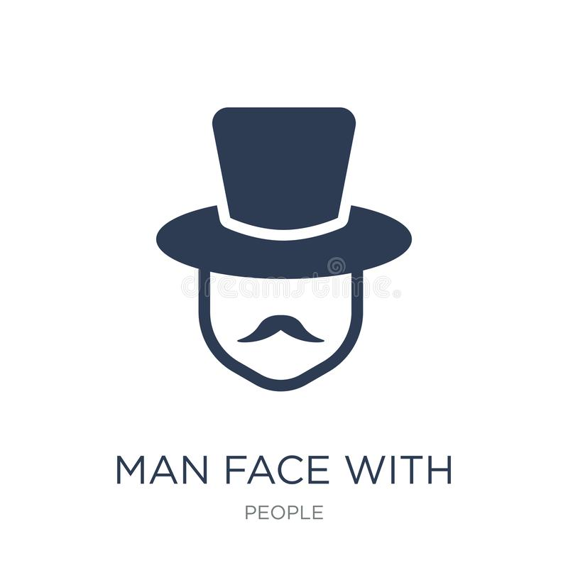 Man face with top hat icon. Trendy flat vector Man face with top. Hat icon on white background from People collection, vector illustration can be use for web stock illustration