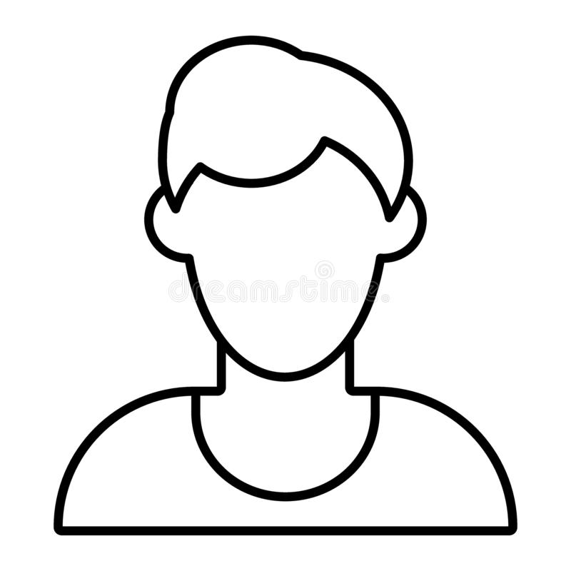 Man faceless avatar thin line icon. Default profile vector illustration isolated on white. Male portrait outline style. Design, designed for web and app. Eps 10 vector illustration
