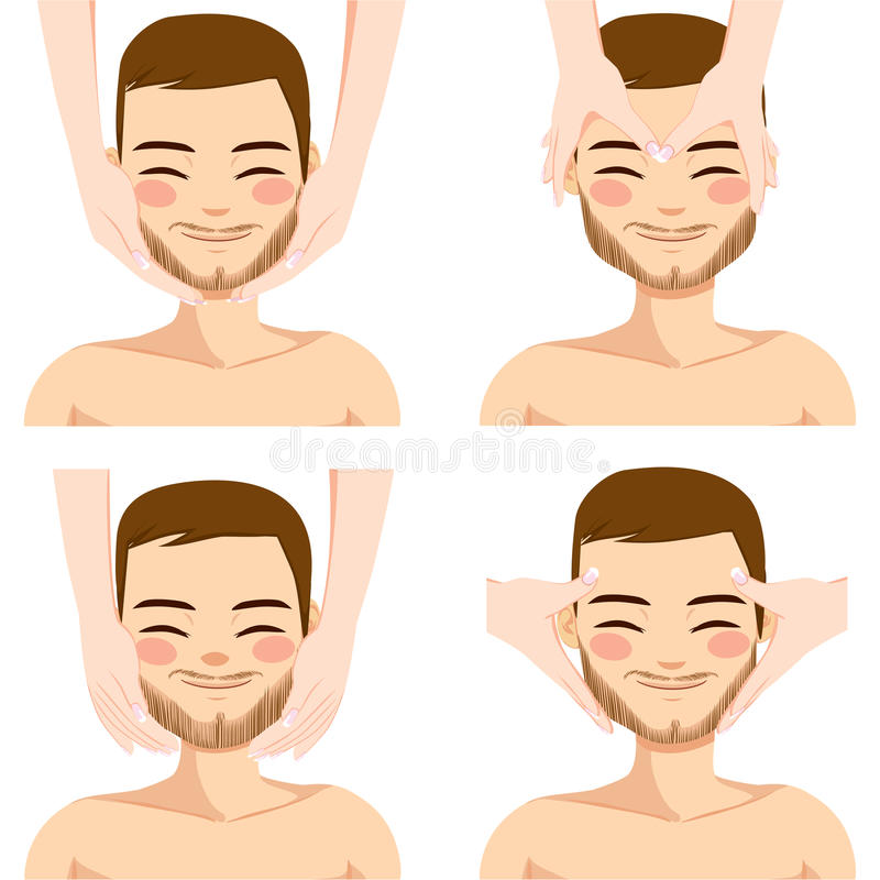 Man Facial Massage. Collection of four facial massage techniques on attractive young man on white background royalty free illustration