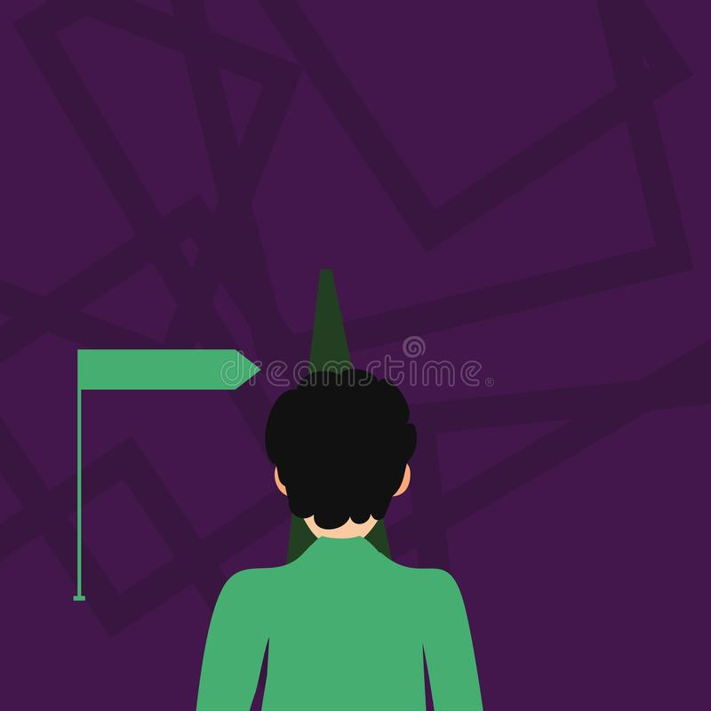 Man Facing the Distance Ahead Blocking the View of Straight Road Path and Arrow Pointing to the Right. Creative. Man Facing the Distance Ahead and Blocking the stock illustration