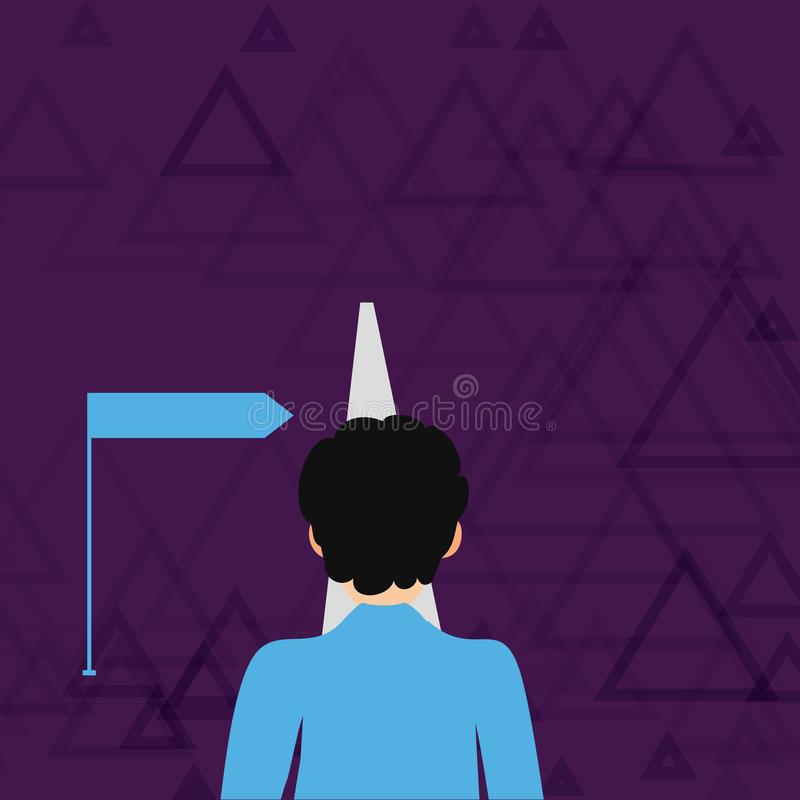 Man Facing the Distance Ahead Blocking the View of Straight Road Path and Arrow Pointing to the Right. Creative. Man Facing the Distance Ahead and Blocking the royalty free illustration