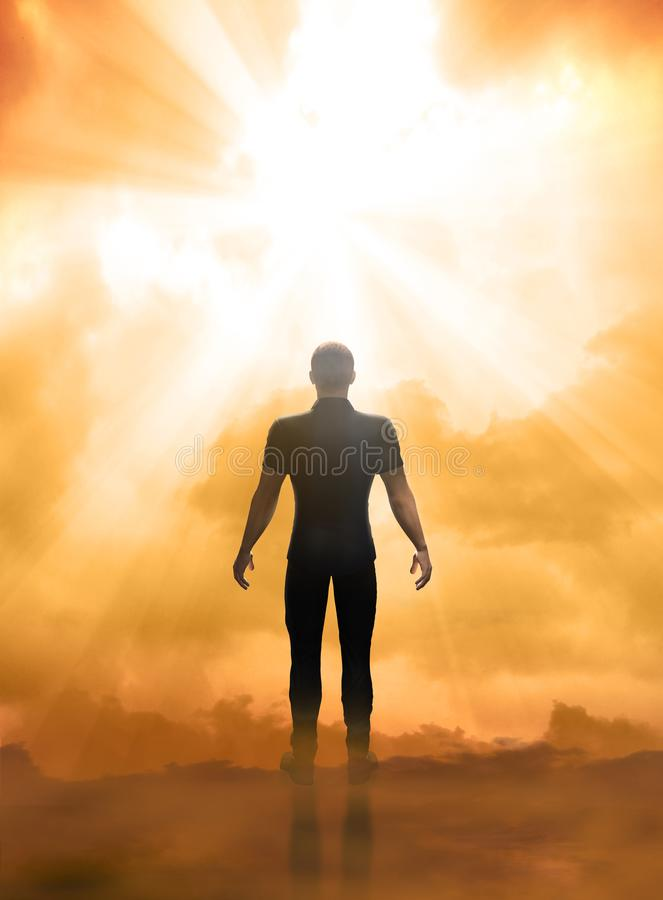 Man facing a near death experience. 3D render illustration of a near death experience, facing the afterlife, the gates of heaven royalty free illustration