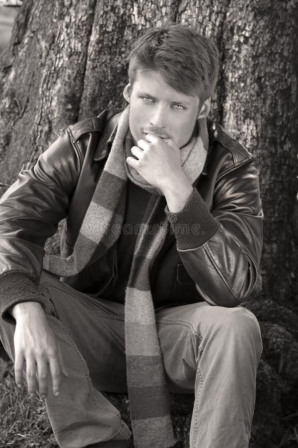 Man in fall fashion stock photo