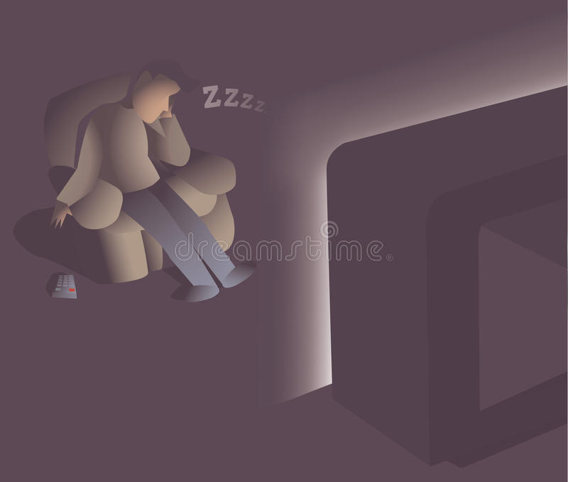 Download Man falling asleep stock illustration. Image of watching - 31671322