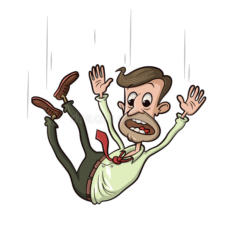 Man falling down. And screaming, vector cartoon royalty free illustration