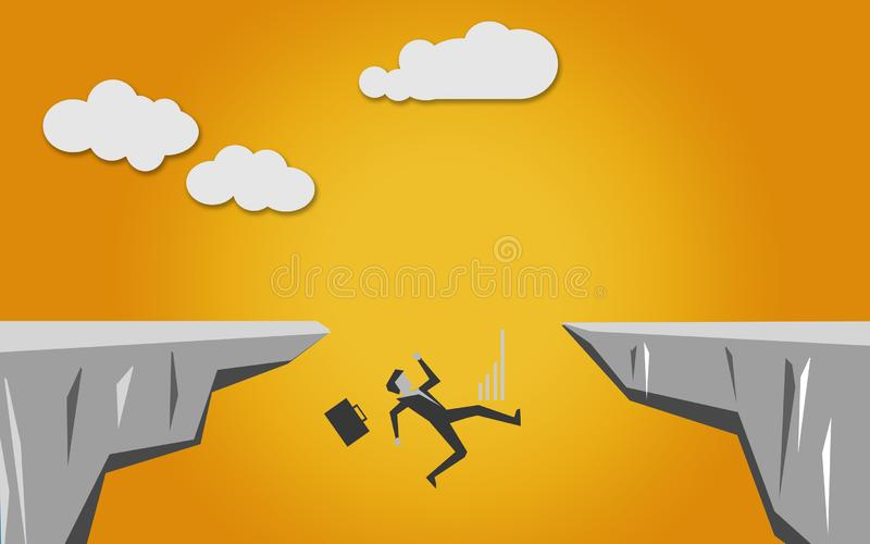 Man falls into the abyss. 3D rendering stock illustration