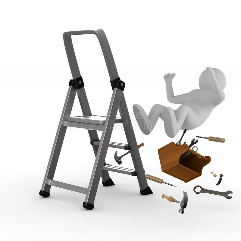 Free Man Falls From Ladder On White Background Stock Images - 84538464