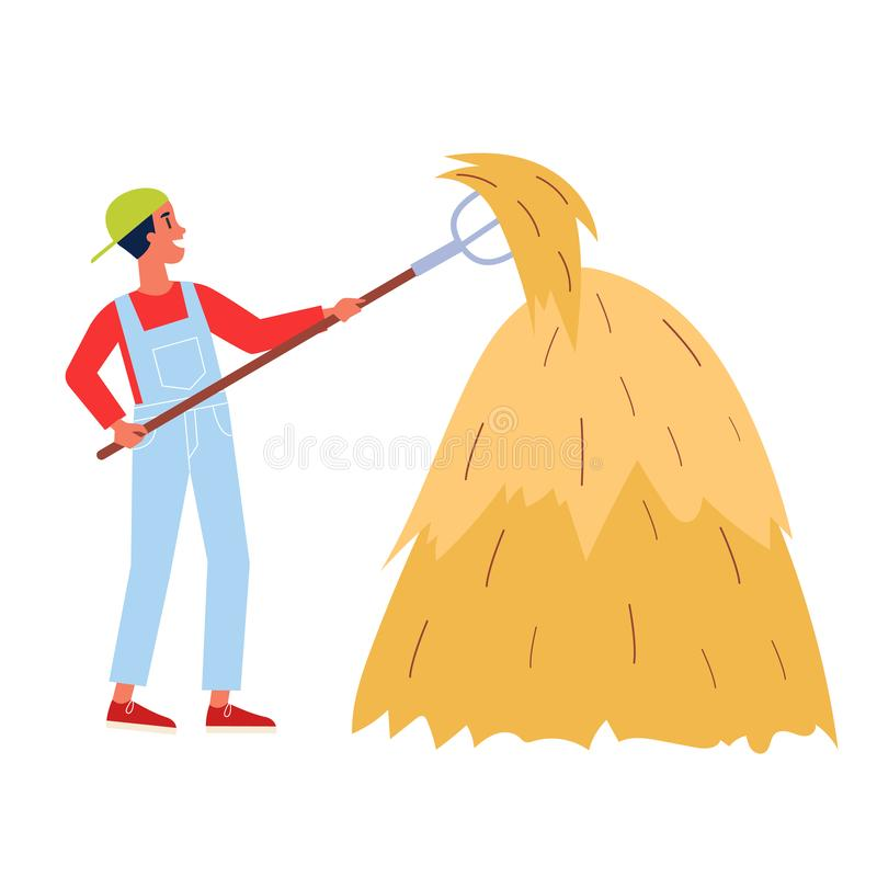 Man farmer at the haystack. Male person holding pitchfork. Idea of agriculture and farming. Isolated flat illustration vector vector illustration