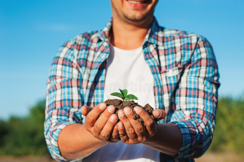 Man farmer smiling and holding young plant in hands against spring sky background. Earth day Ecology concept. Close up selective f royalty free stock photography