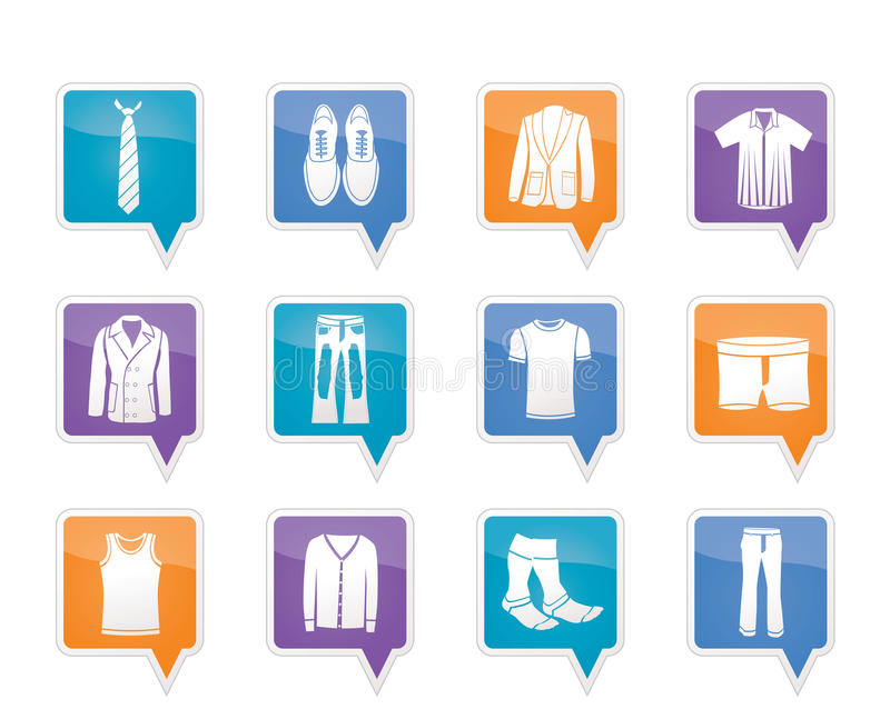 Man fashion and clothes icons royalty free illustration
