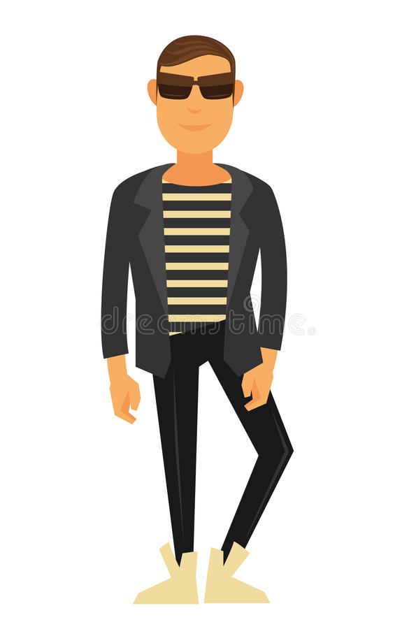 Man fashion model wearing style clothes vector flat isolated icon royalty free illustration