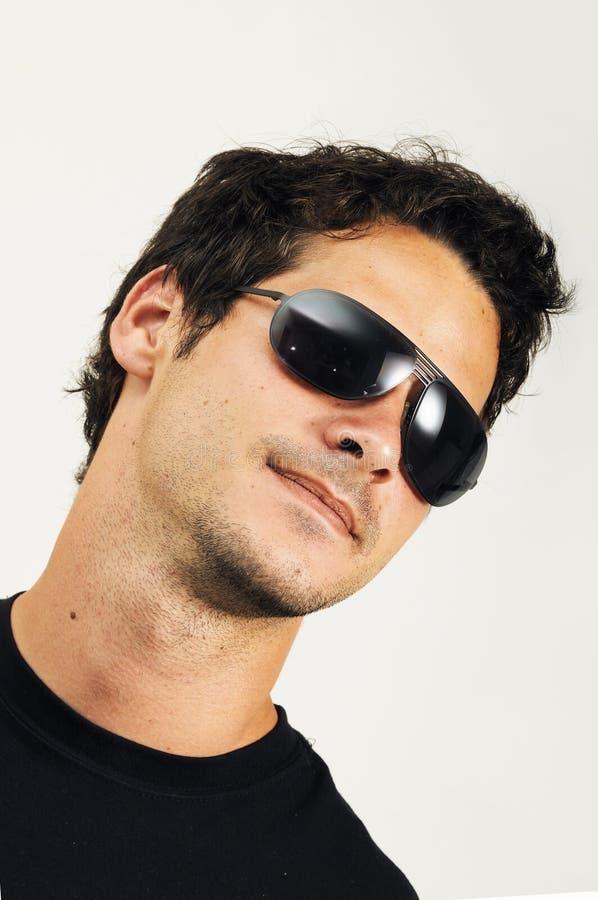 Man with fashion sunglasses stock image