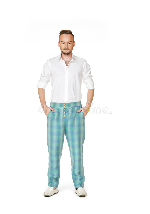Man in fashionable clothes stock images