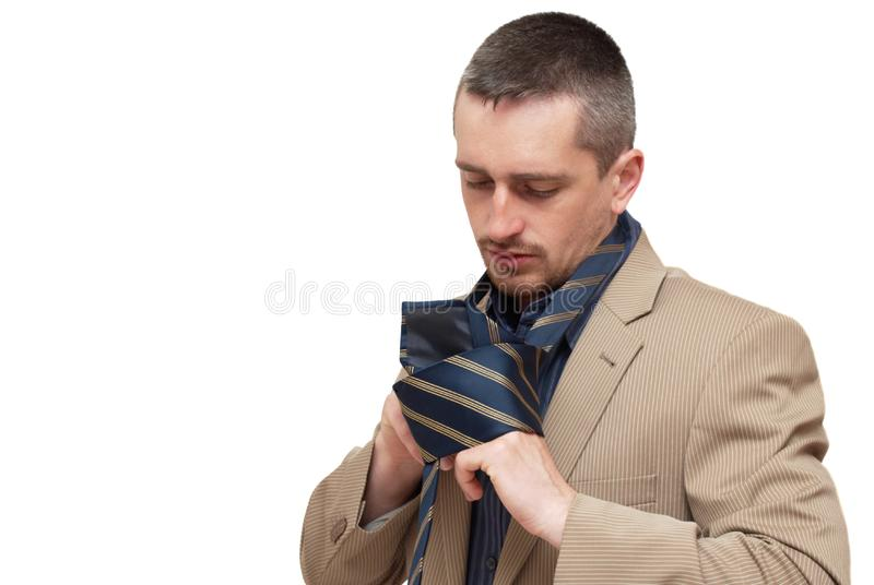 The man fastening a tie stock image