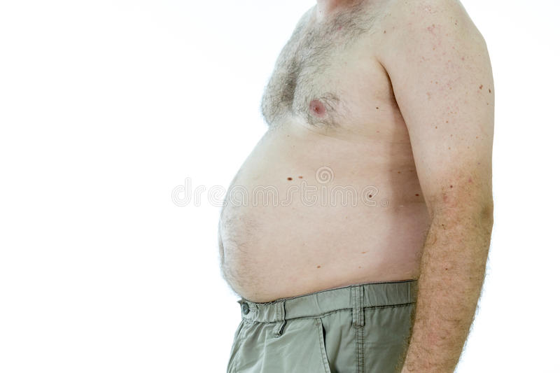 Man with fat stomach stock images