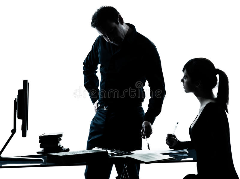 Man father teacher student girl teenager homework royalty free stock photos
