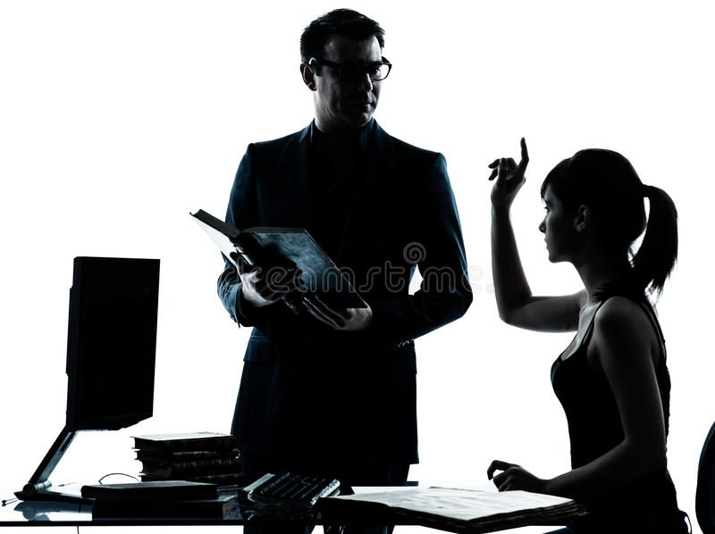 Man Father Teacher Student Girl Teenager Homework Stock Photo