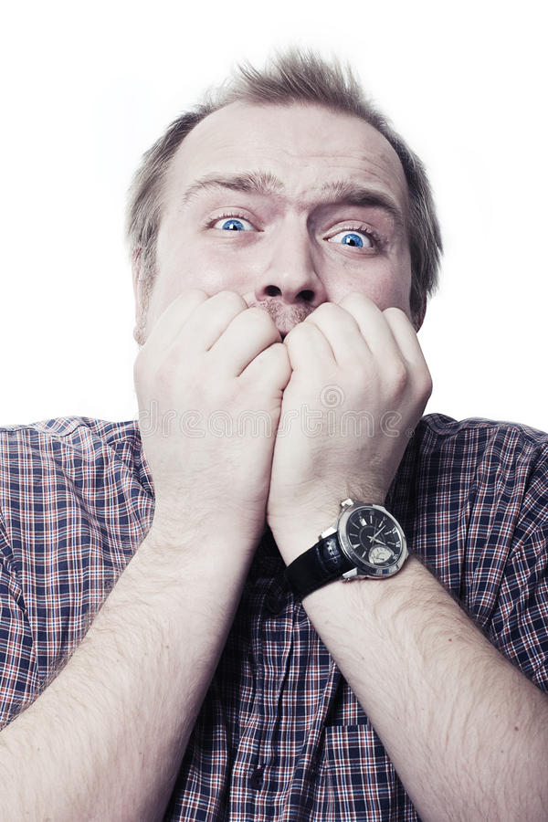 Download Man in a fear stock image. Image of scary, closed, hands - 13602205