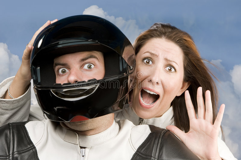 Download Man And Fearful Woman On A Motorcycle Stock Image - Image: 6735299