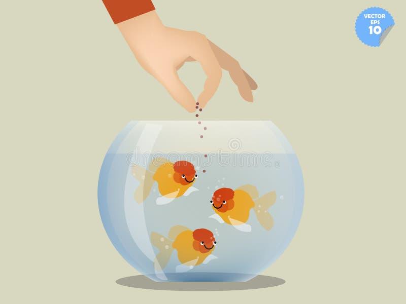 Man feeding goldfish in bowl. Pet concept vector illustration