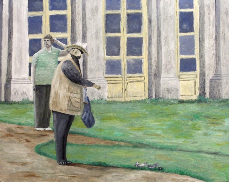 Download Man feeding pigeons stock photo. Image of panes, illustration - 35830734