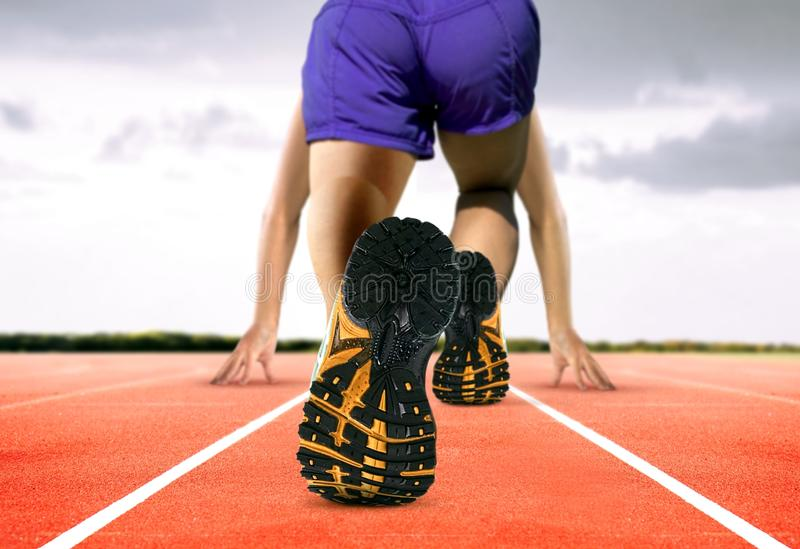 Man Feet on Running Track. Image of Man Feet on Running Track stock images