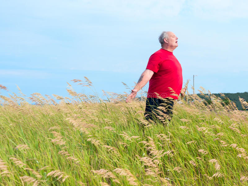 Man in field with breeze. An older man in a field of grass enjoying the gently blowing breeze stock images