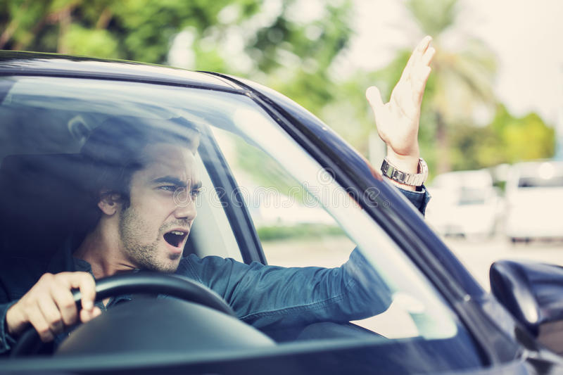 Man fight in traffic royalty free stock photos