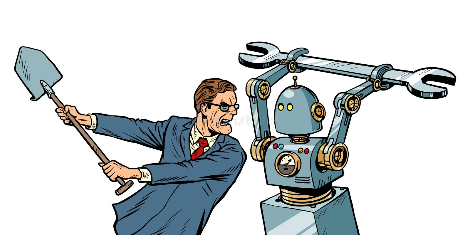 Man fights with a robot stock illustration