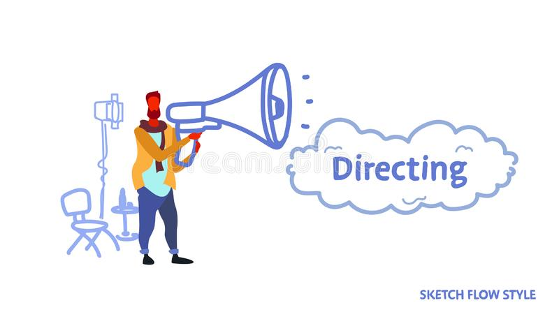 Man film director holding loudspeaker video production and filmmaking concept movie making process projector chair. Megaphone equipment sketch flow style stock illustration
