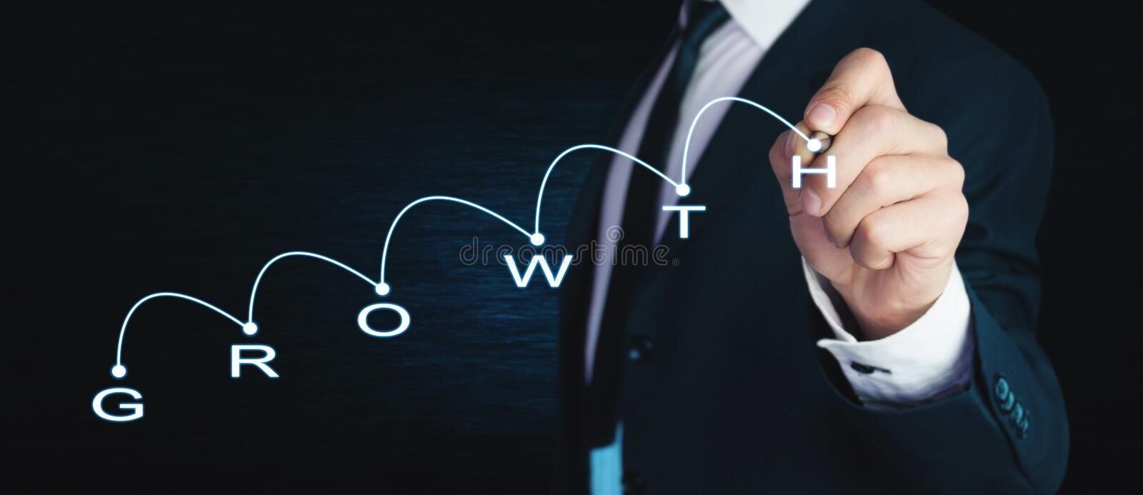 Man with financial chart. Growth concept stock image